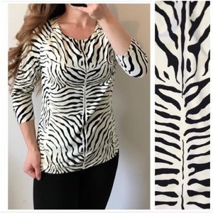 J. MCLAUGHLIN Catalina Cloth Signature Tee Zebra M